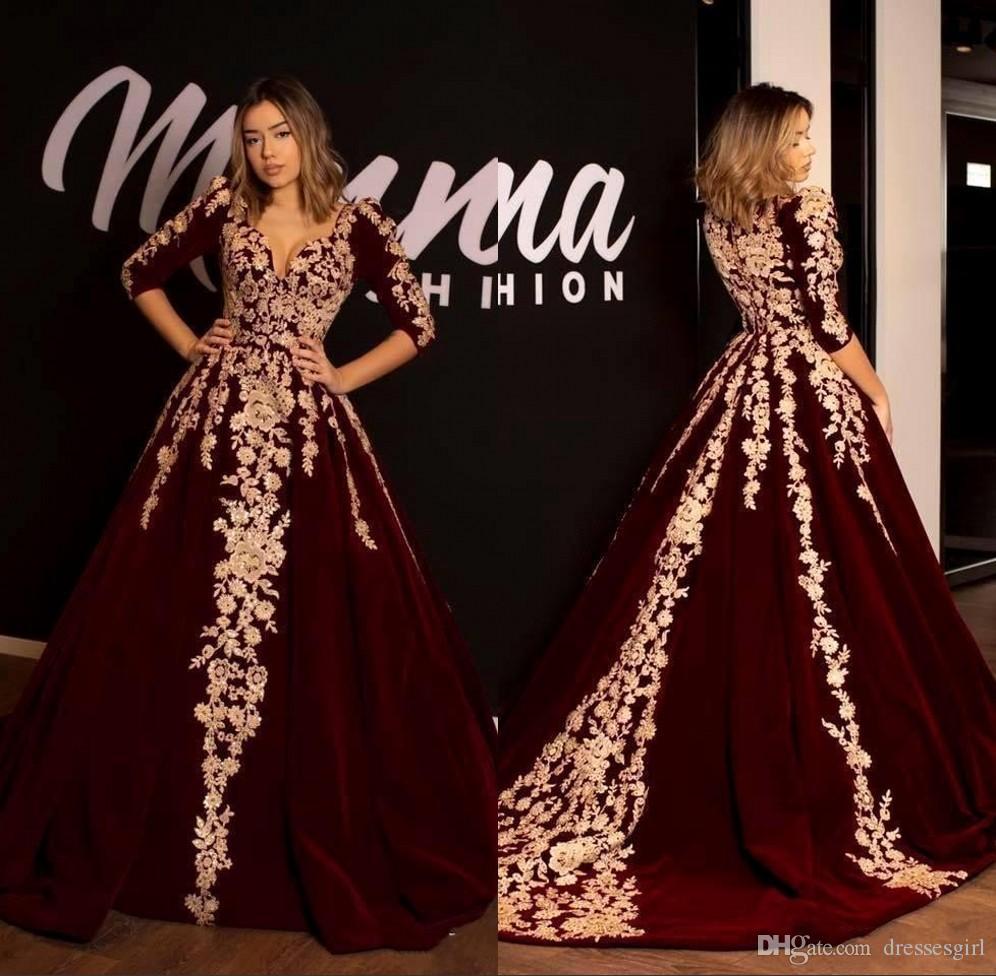 Borgoña 3/4 de manga una línea Vestidos de noche en V apliques de encaje Princesa Prom Party Vestidos Vestido BC2620