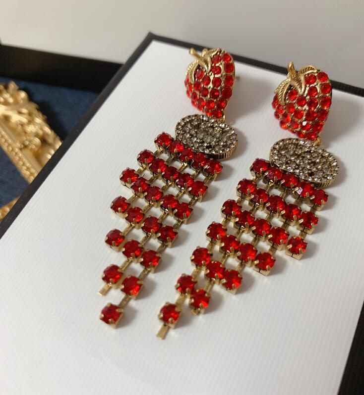 Cadena de la manera borla larga pendiente Rojo elegante del diamante lleno de fresa encanto earrng del oído del perno prisionero de la joyería del diseñador de las mujeres