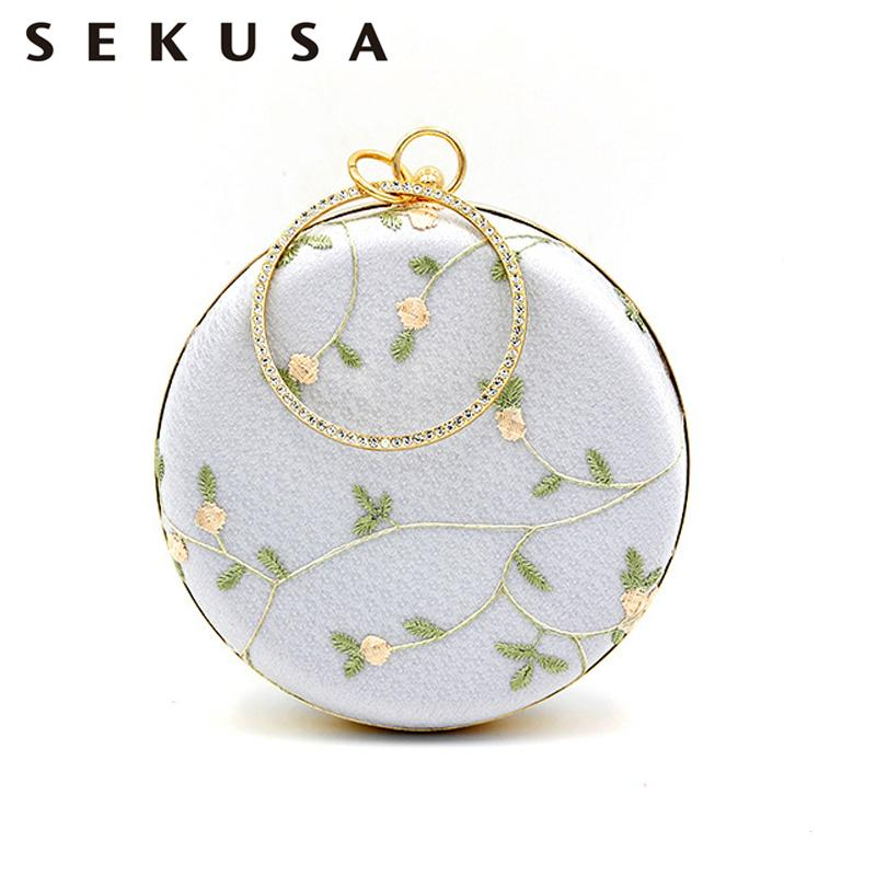 SEKUSA Lace Embroidery Day Clutches Diamonds Metal Round Evening Bags Flower Summer Lady Shoulder Handbags