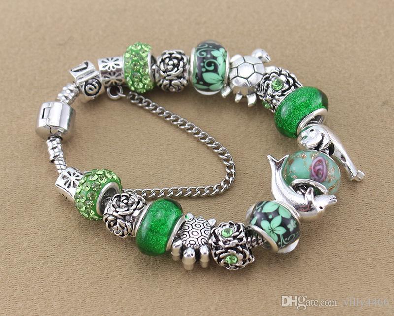 Nueva lujo 2019 la marca de moda de alta calidad de bricolaje brazalete de cuentas verdes Océano serie para las mujeres amantes de la joyería pulsera