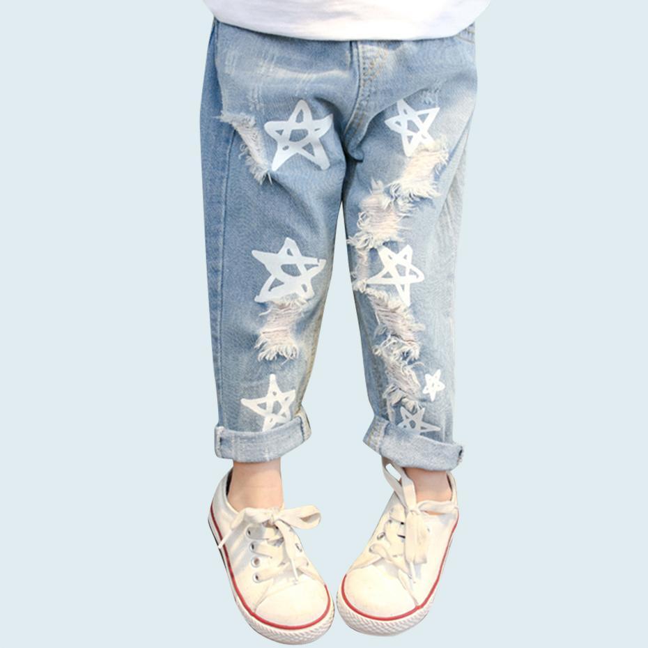 Bébé Filles Jeans Étoiles Impression Jeans Pantalon Pour Filles Élastique Taille Enfants Jeans Avec Trou Automne Nouveauté Vêtements Pour Infantile Filles Y200409