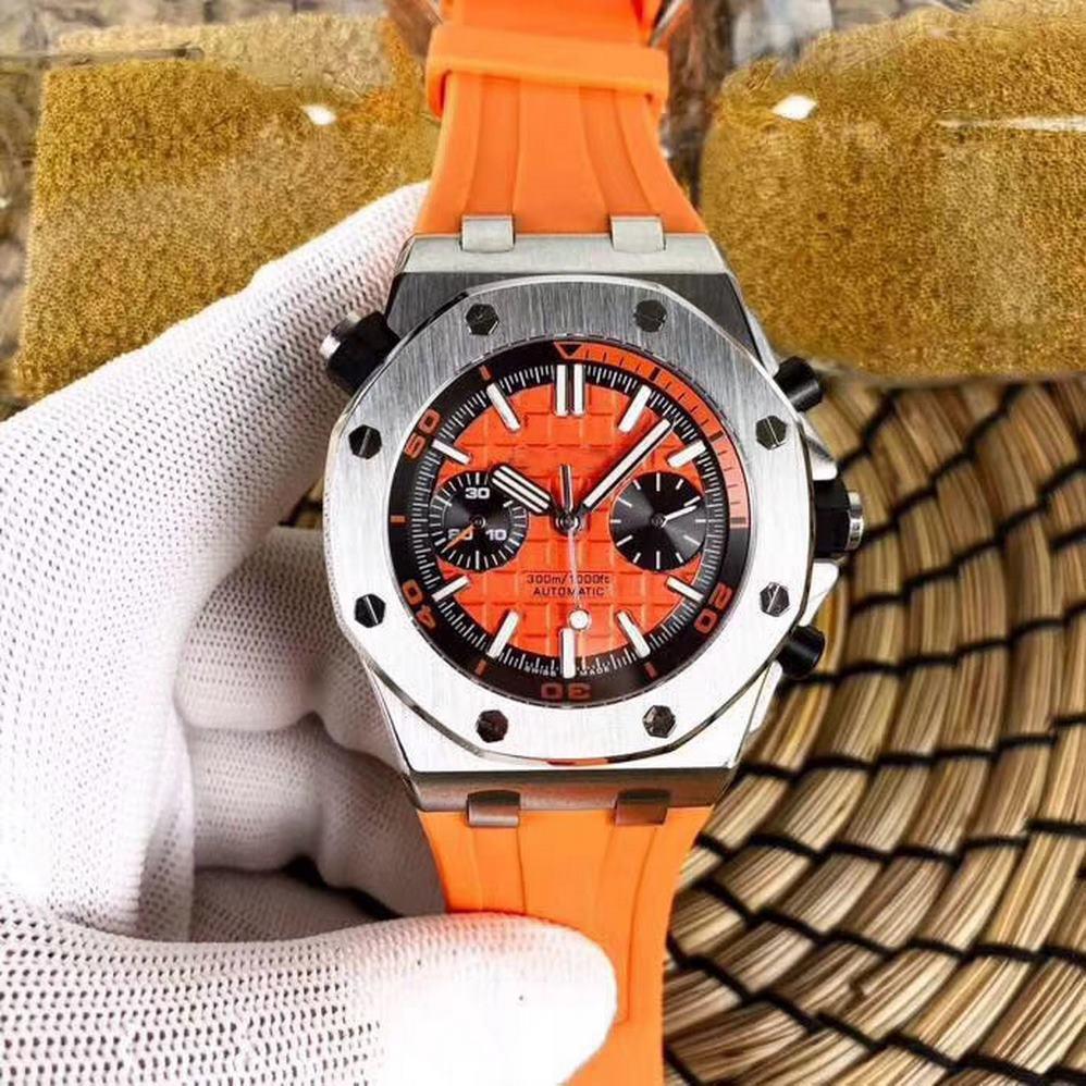 5 broches montre automatique de luxe ouvert bouton de travail en chêne petit cadran arrière royal hommes disponibles mouvement tick 41mm en acier inoxydable montres 5212