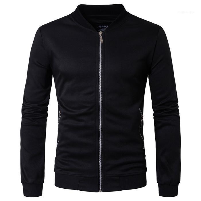 Couleur Collier Hommes Slim Pull British Tendance Automne Hiver Sweats à capuche Mens Designer Zipper Cardigan Mode solide