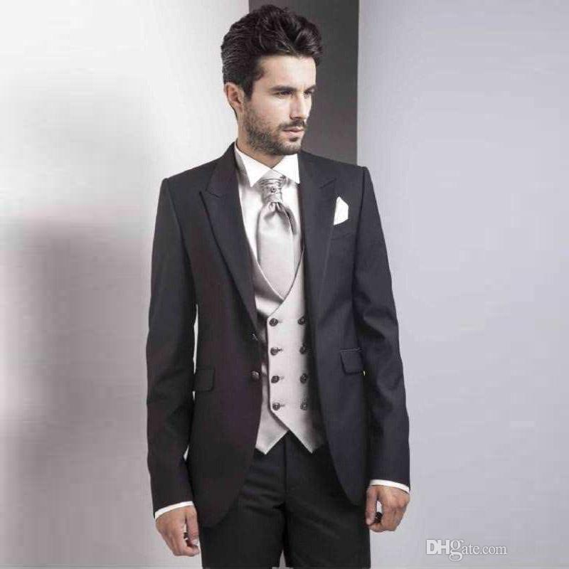 Black Men Suits 2018 Italian Groom Tuxedos Peaked Lapel 3 Pieces Double Breasted Ivory Vest Best Man Blazers Jacket Men Suits with Pants