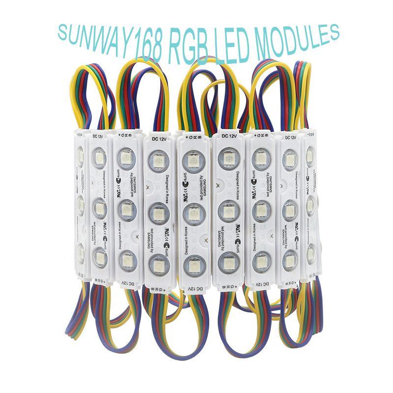 IP68 RGB LED الوحدات النمطية أضواء DC12V 3 قطع SMD5050 LED وحدات الحقن الإضاءة للماء بكسل الخلفية ل channer