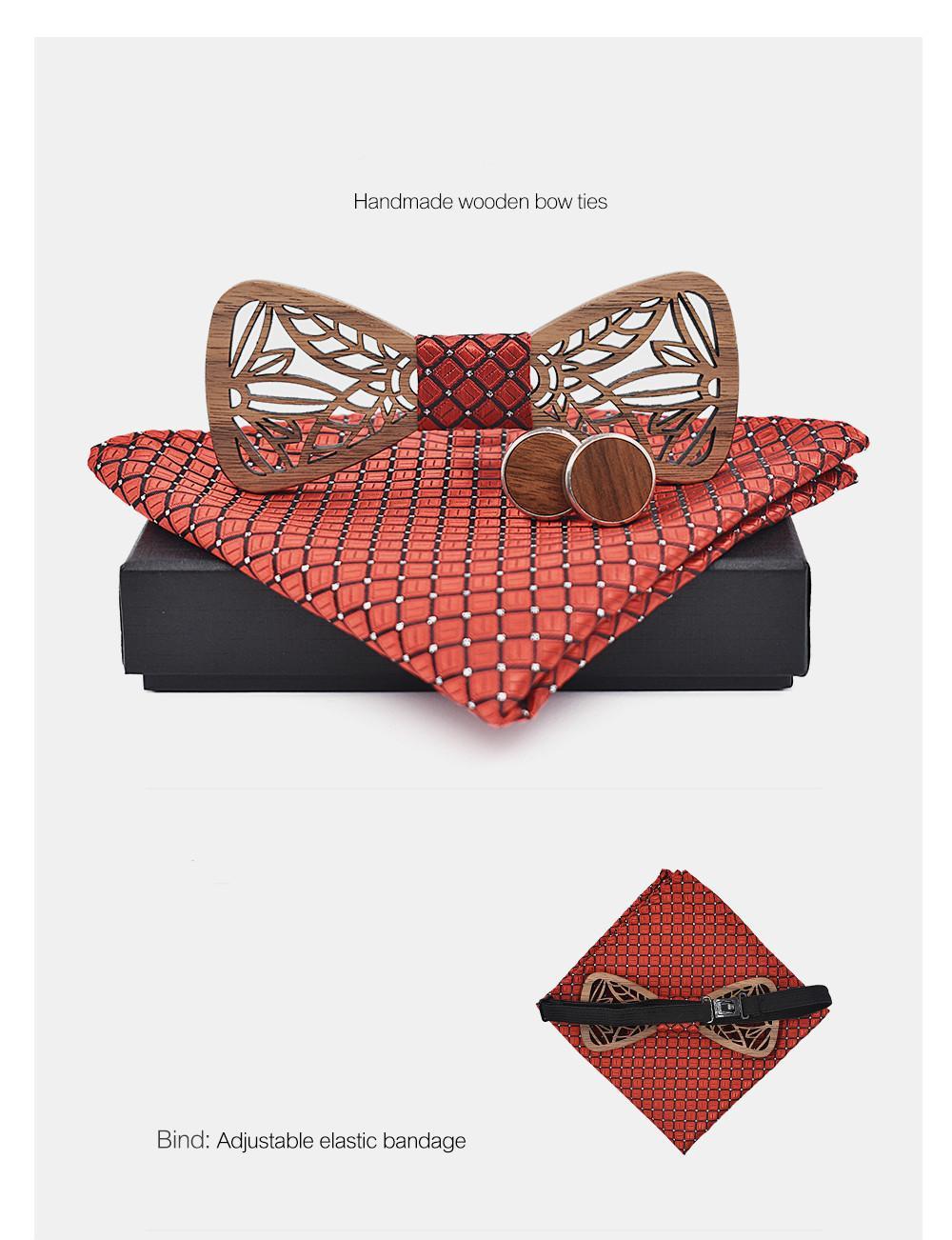 Yeni Moda Ayarlanabilen El Yapımı Ahşap Papyon Seti Ve Mendil Geometrik Papyon Eşarp Kol Düğmesi Kutusu Set Erkekler Için Noel Hediyeleri