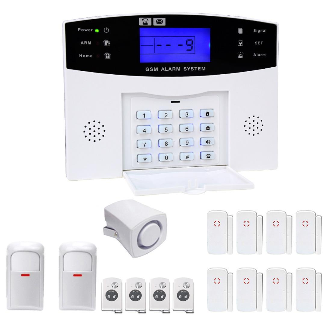YA-500-GSM-24 16 in 1 Kit Wireless 315/433MHz GSM SMS Security Home House Burglar Alarm System with LCD Screen