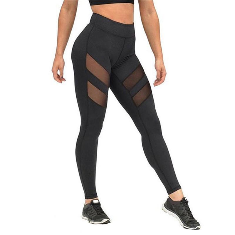 Mulheres Yoga Preto Leggings ver através de malha costura Skinny Pants executando Yoga exaurir Esportes Leggings preto ocasional de treino