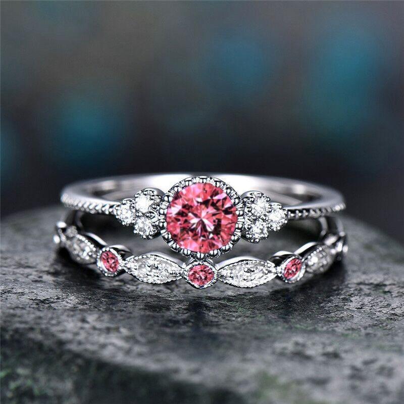 QCOOLJLY 2 teile / satz Lila Rosa Blau Stein Ehering Set Frauen Braut Jahrestag Ring Kreis Zirkonia Ringe anillos