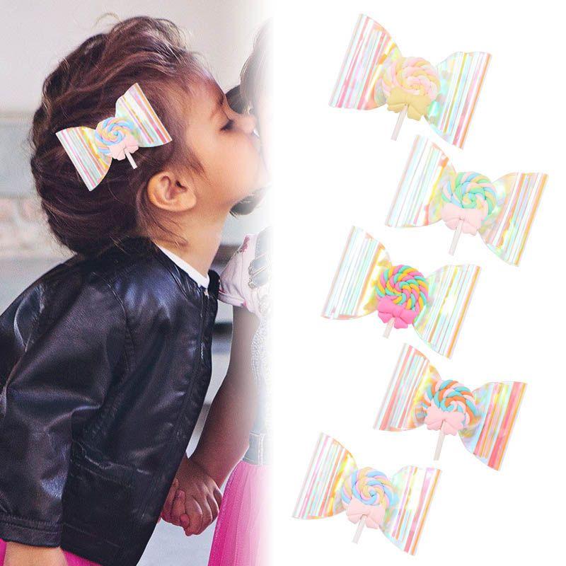 Ins радуги леденец девушка зажимы волос очистить волос луки дизайнер зажимов волос милых дети заколки ребенок BB клип девушка аксессуары B274