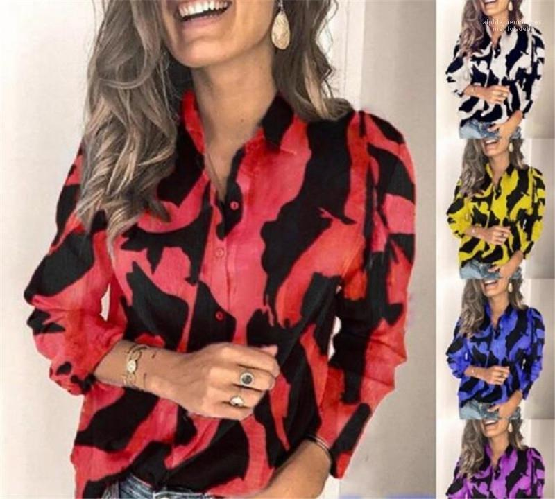 Printing Langarm Lose Shirts der neuen Art-Frauen-Blusen 2020 Frauen Designer Shirts Fashion Solid Color-Revers-Ausschnitt
