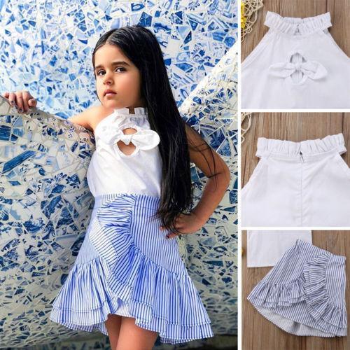 Bebê das meninas do miúdo roupas de verão T-shirt Tops + Stripe Tutu saia do vestido da roupa EUA