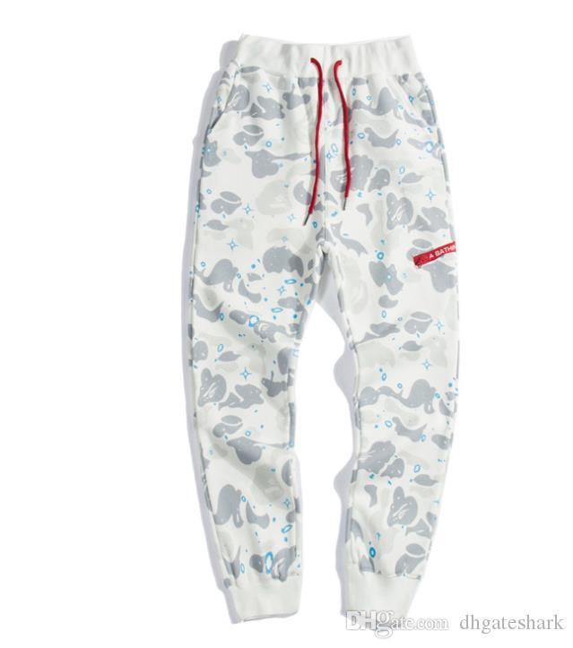 Moda masculina Hip Hop Calças tubarão Bordados solto Camo Pants Homens Mulheres Cotton Sweatpants