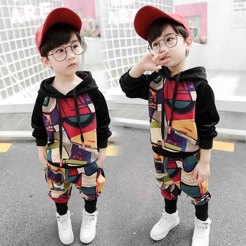 Мальчики набора 2019 новый хлопка весной и осенью с длинным рукавом печати с капюшоном детской одежды