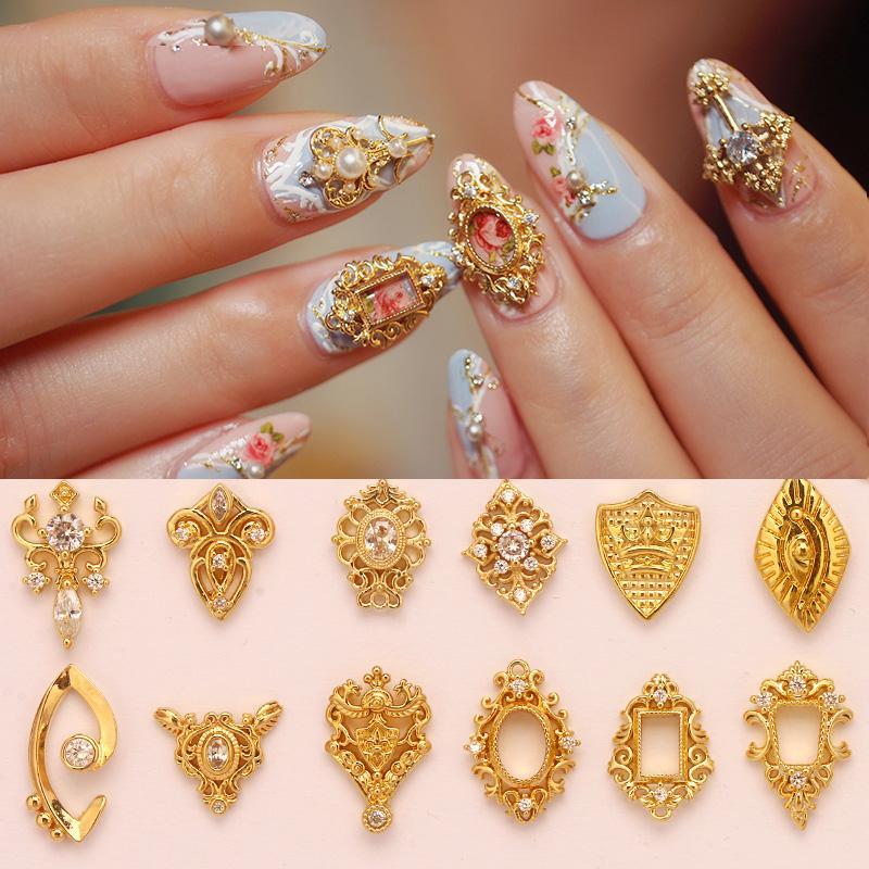 5шт металл ногтей Циркон выдалбливают украшения искусства ногтя металла ногтей ювелирные изделия Циркон Алмаз подвески маникюр украшение