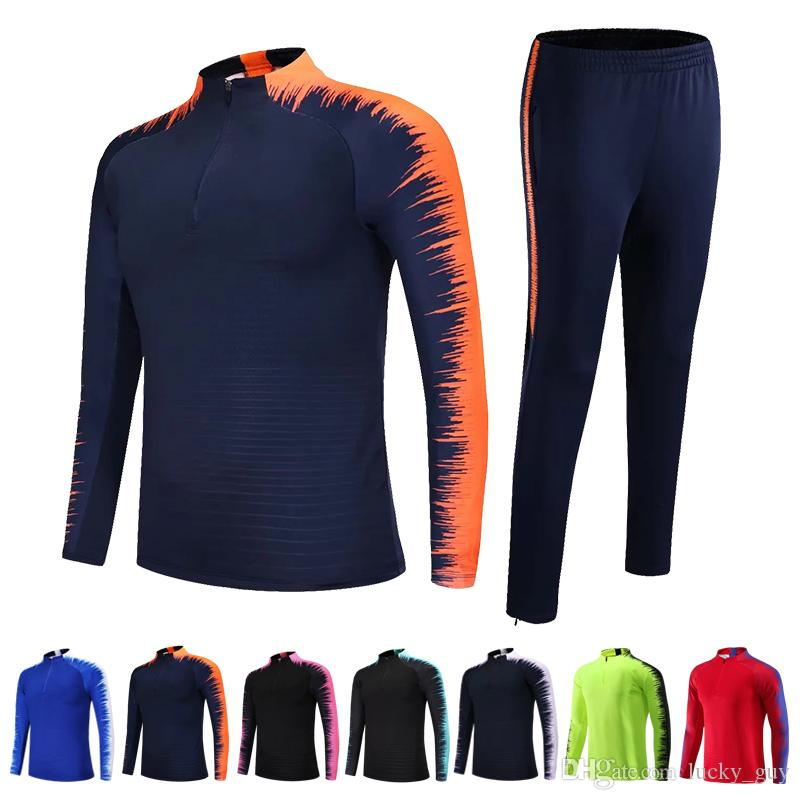 2019-2020 Kids Adults Soccer Jerseys Sets Survetement Football Kits Men Child Running Jackets Sports Training Tracksuit Uniforms Suit