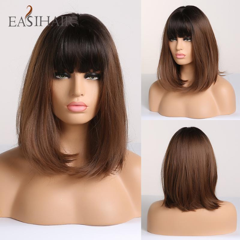 EASIHAIR Noir Brown Omber droite Bob Perruques longueur moyenne synthétique perruques pour les femmes cosplay perruque avec une frange résistant à la chaleur perruque