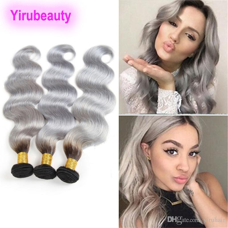 Indian Human Hair 1B/grey Two Tones Color Body Wave 3 Bundles 10-26inch 1B Grey Virgin Hair Body Wave Double Wefts