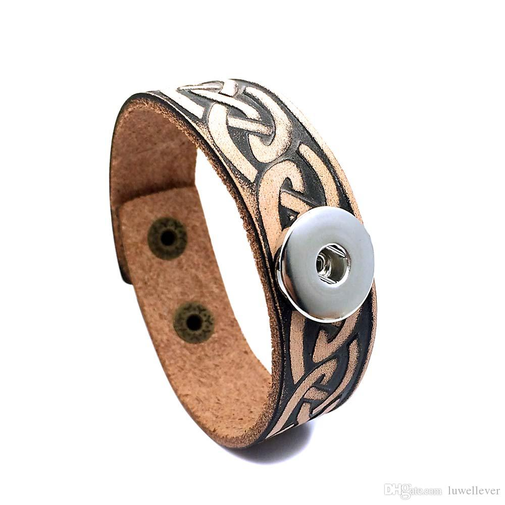 Rock Punk 145 Really Genuine Leather Retro Fashion Bracelet Bangle Fit 18mm Snap Button Charm Jewelry For Women Teenagers Men Gift