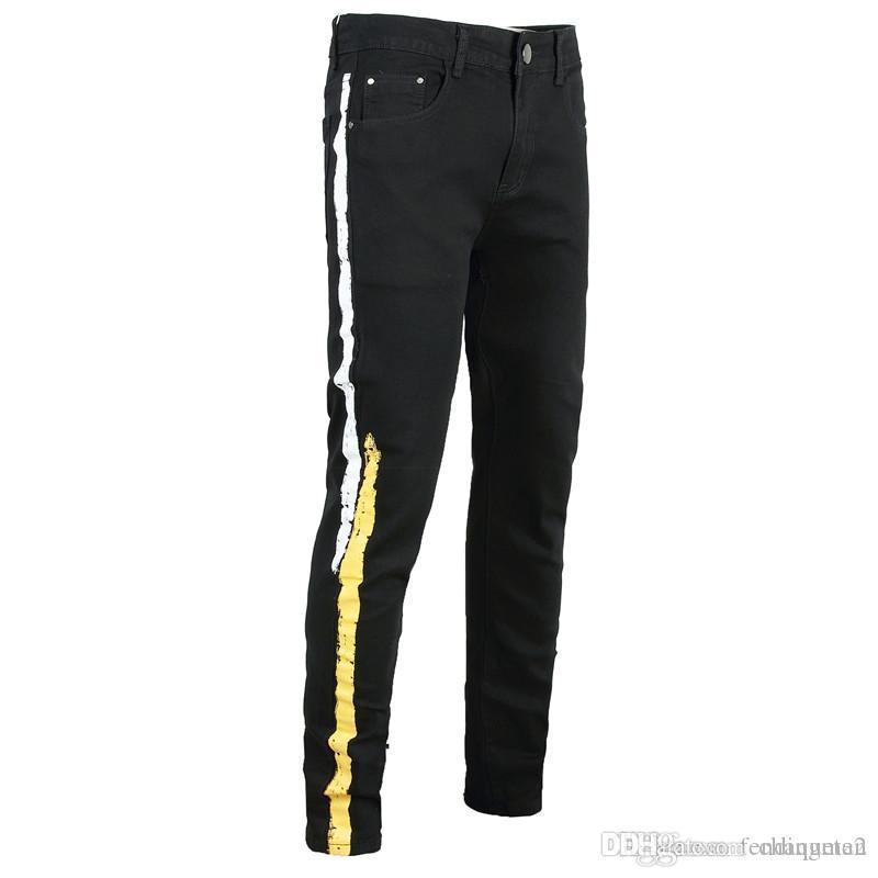 Mens Desigenr Jeans Moda Negro Delgado impresión mosca de la cremallera mediados de cintura de los pantalones vaqueros de última moda de diseñador de los pantalones para hombre