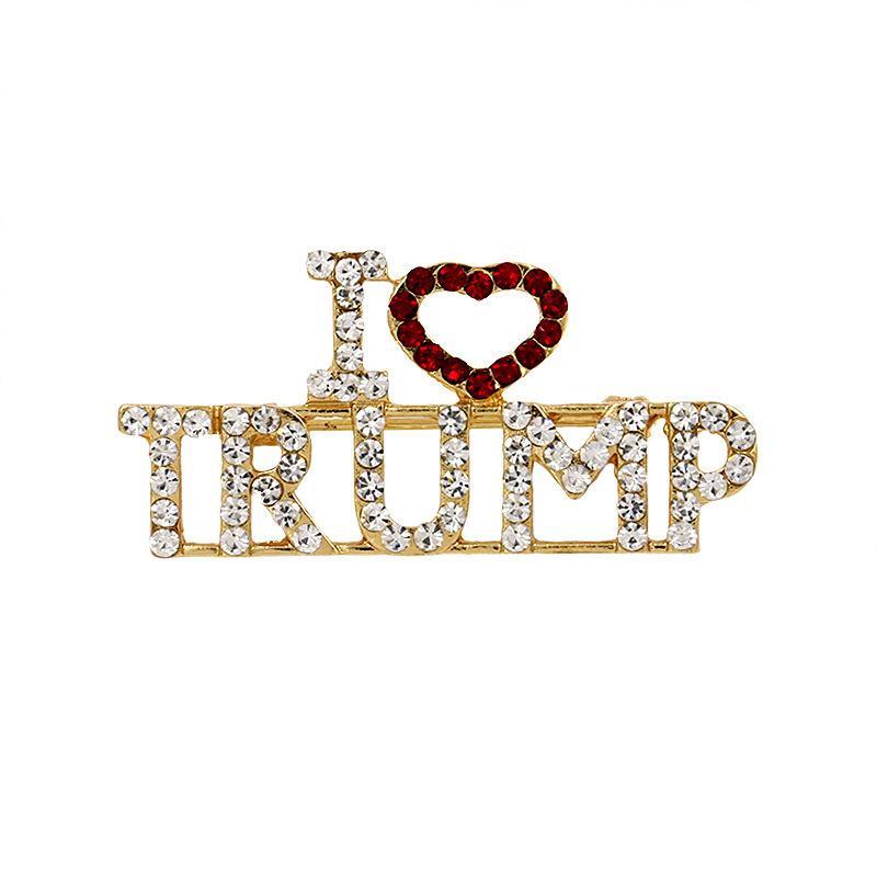 Acessórios de Moda Alloy Rhinestone broche Glitter Letter Eu amo Trump pinos portátil mama cor do ouro lapela o emblema Jóias 3 8md J1