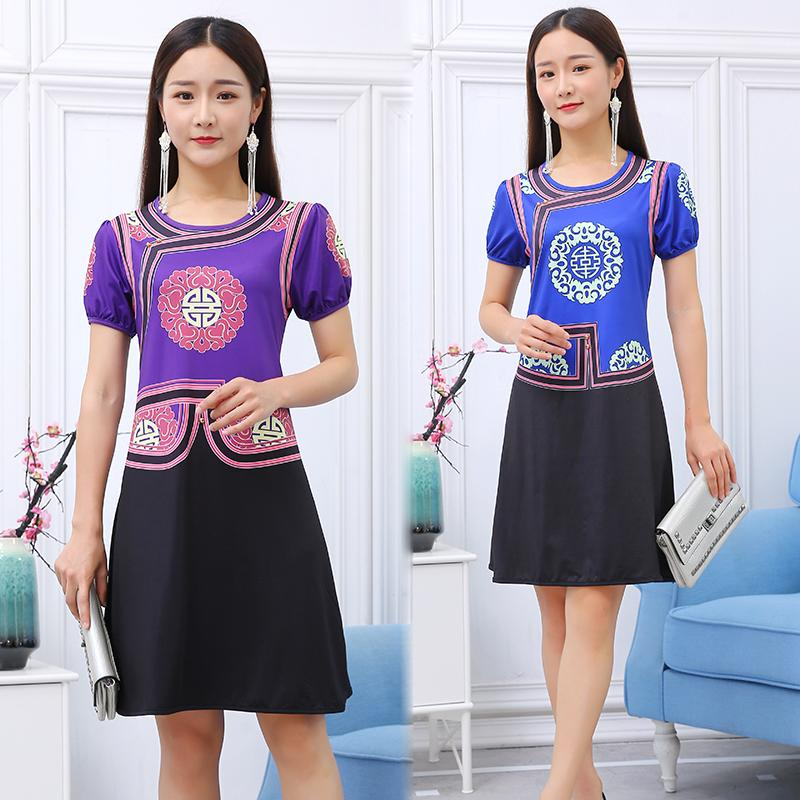 Vintage pattern Print Dresses Ethnic clothing Robe traditioanl women mongolia Gowns Lady O-neck short sleeve party apparel