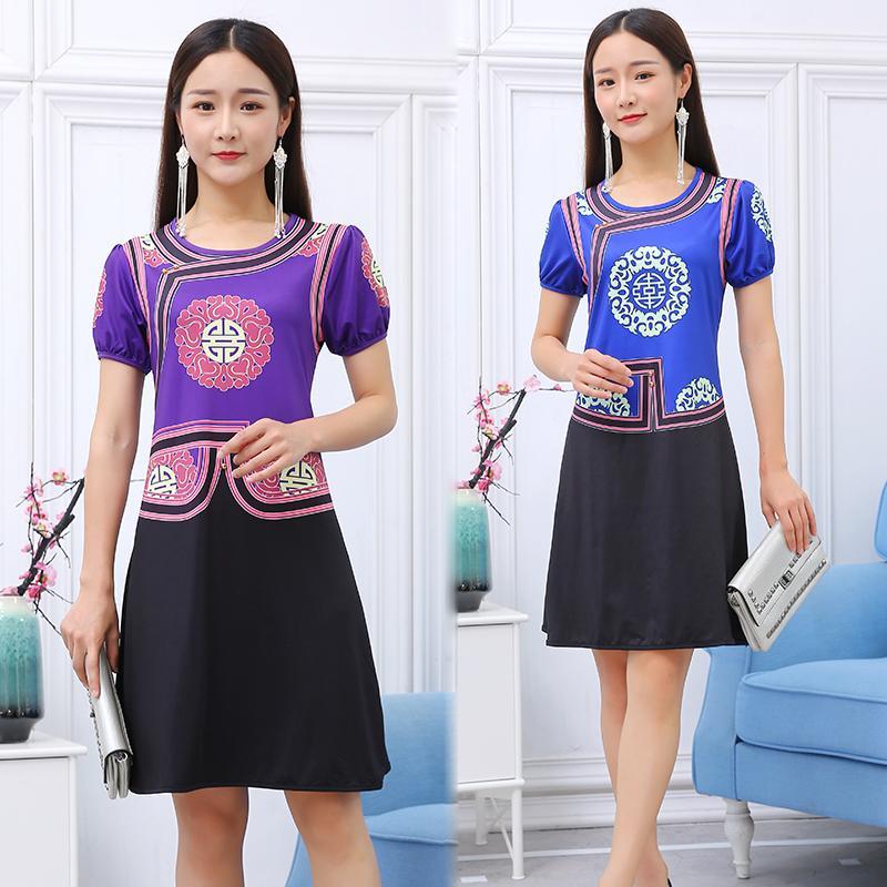 motif vintage impression Robes vêtements ethniques Robe femmes traditioanl mongolie Robes Lady O-cou à manches courtes vêtements de fête