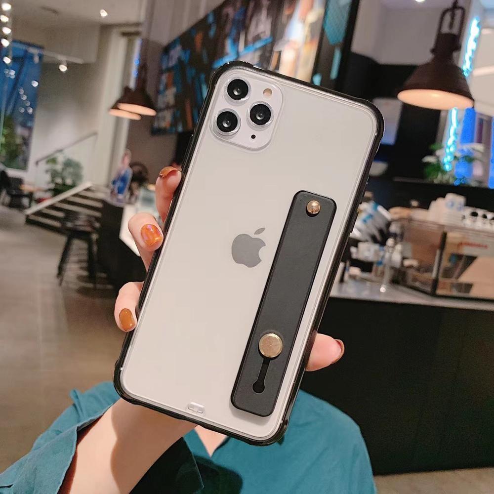 iPhone 11 Pro Max XR 6S 7 presente Tampa à prova de choque de pulso cinta do telefone Capa Para XS Max 6 8 Plus X Soft Color TPU Doce Voltar