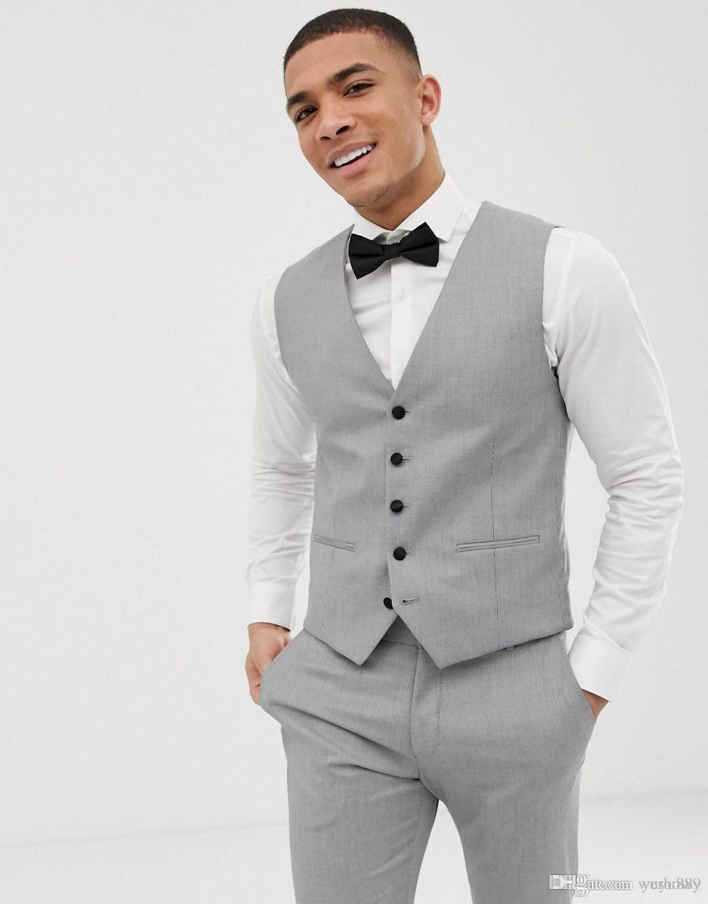 100% high quality better price latest style of 2019 Custom Grey Mens Suits Black Lapel Slim Fit Wedding Suits For Groom /  Groomsmen Prom Casual Suits Jacket+Pants+Vest+Bow Mens Summer Suits Mens  Wedding ...