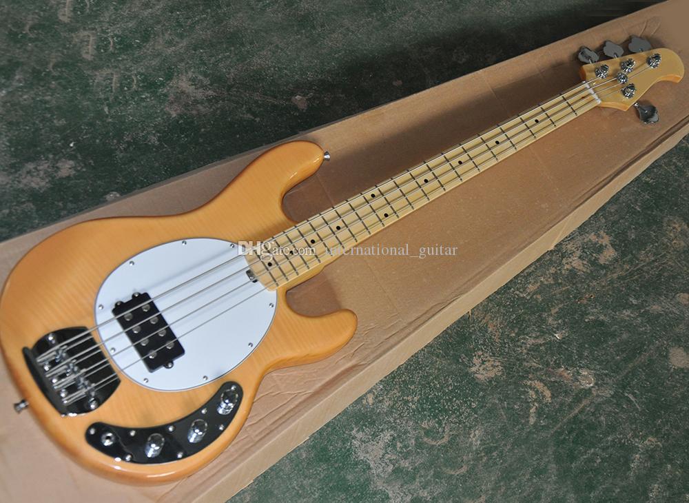 Al por mayor 4 cuerdas de color madera natural Música bajo eléctrico con diapasón de arce, la llama chapa de arce