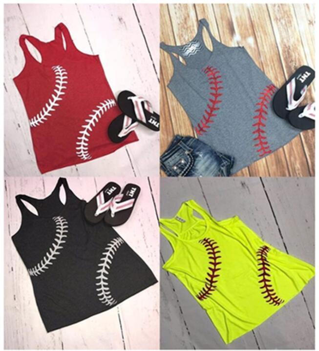 النساء البيسبول تانك الصيف البيسبول مطبوعة الرياضة الدبابات أكمام القمصان سترة البيسبول اللينة كاميس الأعلى فتاة سترات GGA1704