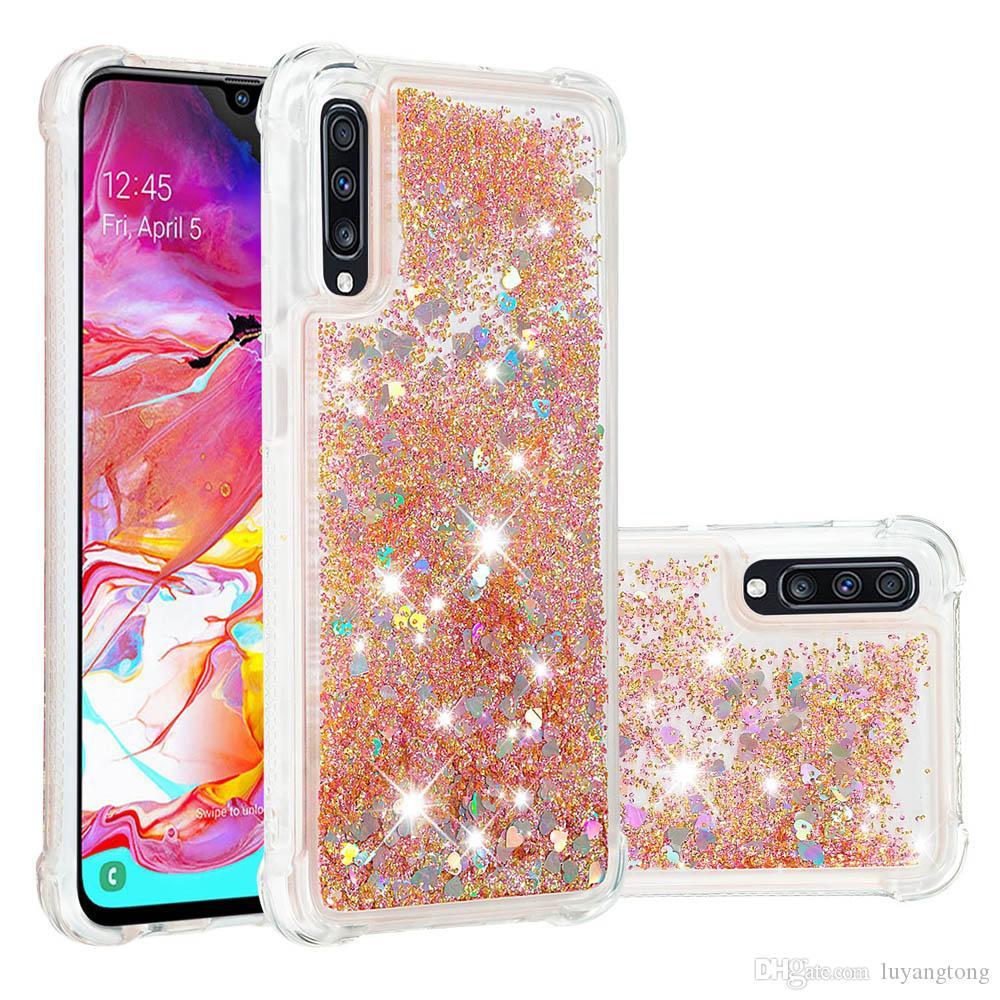 Couverture en silicone antichoc pour Samsung Galaxy A70 Pour cas Samsung Galaxy A50 cas dynamique paillettes liquide Quicksand cas A20 A30 Funda