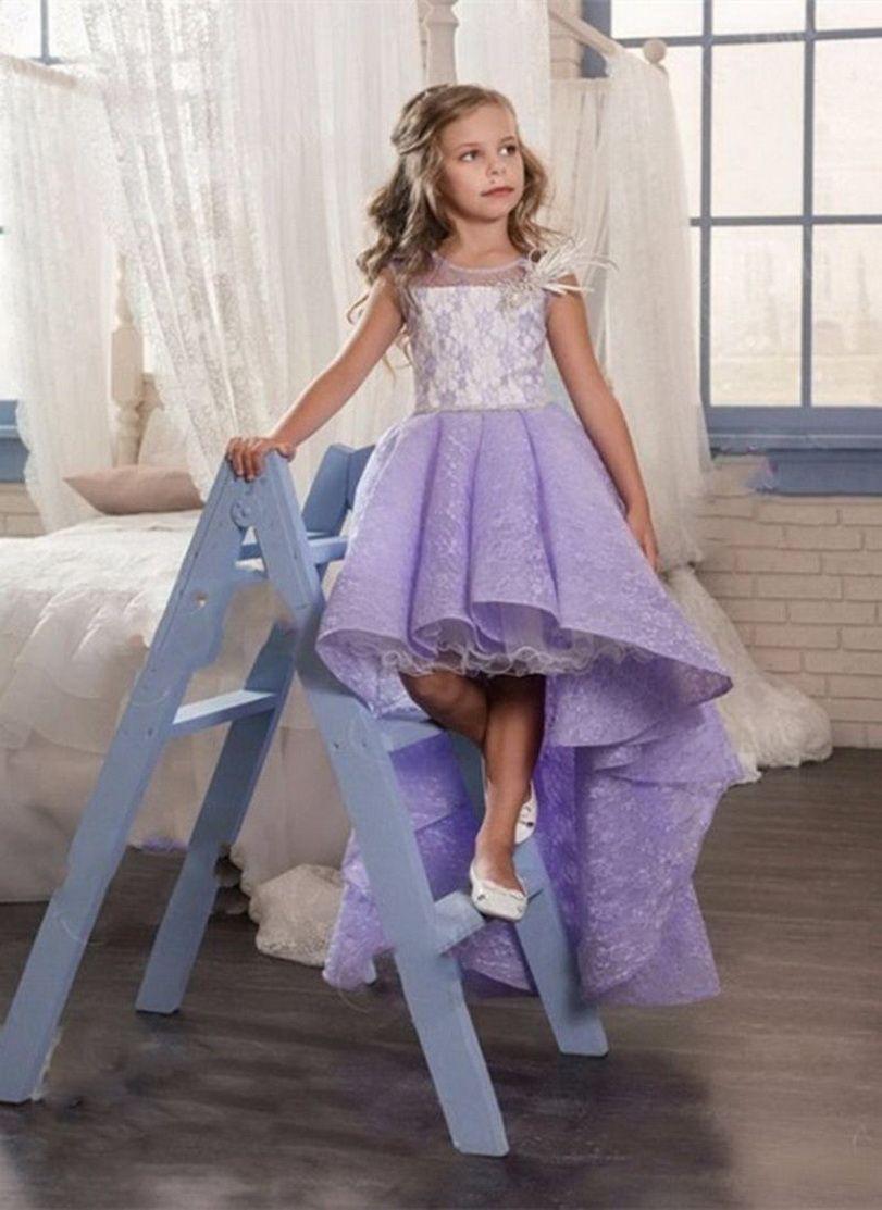 Muchacha púrpura vestido sin mangas de la princesa de flores de tul vestido de púrpura lujoso Gi para las niñas visten Partido Primero Comunión fiesta de cumpleaños