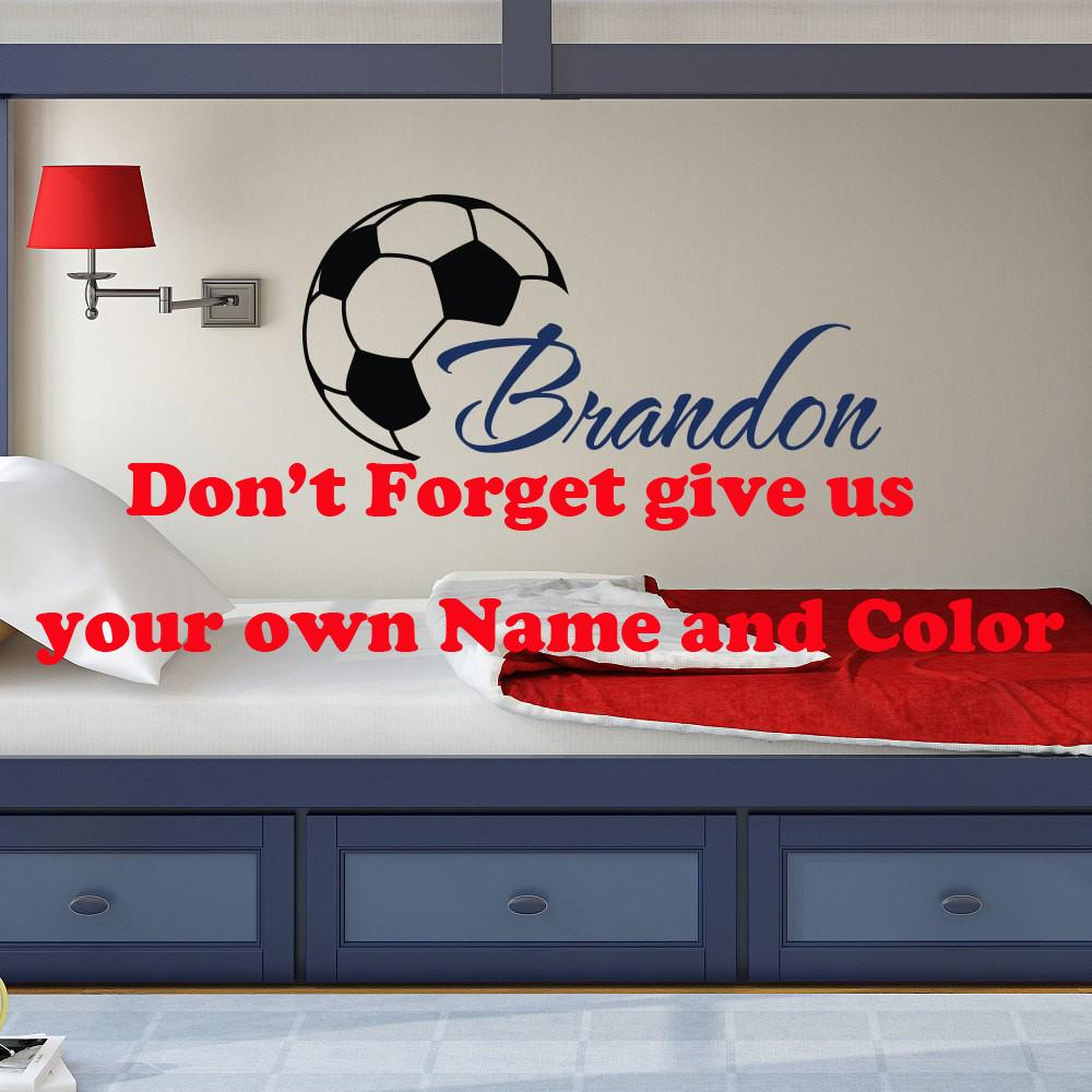 Custome Boys Name Wall Decals With Soccer Art Wall Stickers Personalized Home Kids Room Decor Vinyl Wallpaper DIY Poster W-372