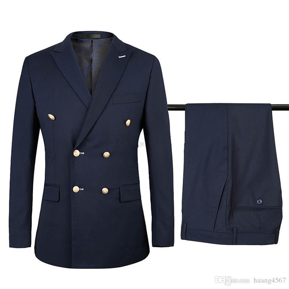 새로운 사이드 벤트 더블 브레스트 베이지 / 네이비 블루 / 블랙 / 블루 웨딩 신랑 턱시도 피크 옷깃 Groomsmen 남성 정장 (자켓 + 바지 + 넥타이) 251
