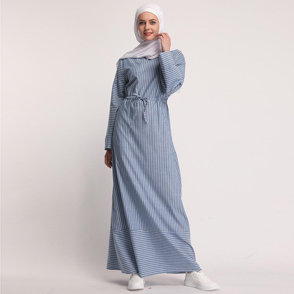 Ropa étnica Mujeres Musulmán Vestido Abaya Tarde Kaftan Rayado Largo Maxi Dubai Robe Islámica Ramadan Z415