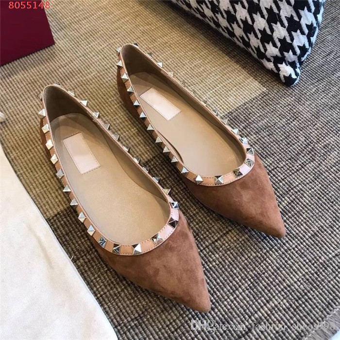 Mulheres clássico rebite moda apontou ballet sapatos de veludo sola plana sapatos de salto plana mulheres casuais sapatos com caixa de 34-40 originais