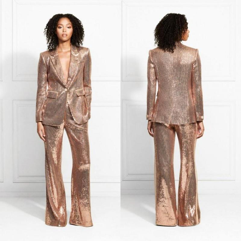 Rose Gold 2020 Evening Dresses Sequined Mother of the Bride Suits Slim Fit Dresses Ladies Party Prom Wear For Wedding(Jacket+Pants)