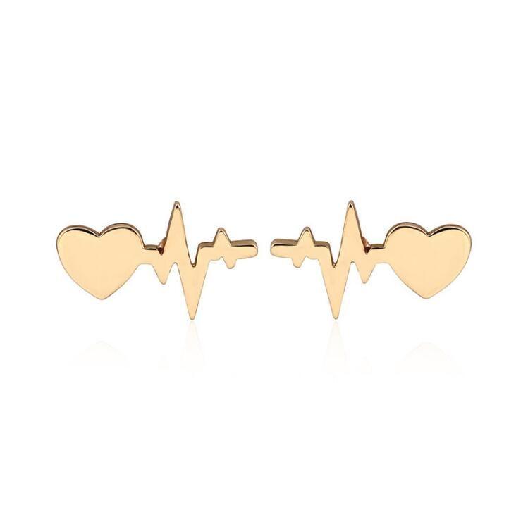Valentine's Day Loving Ear Nails New Creative Lightning Electrocardiogram Loving Ear Rings Baitao Ear Nails 3 Colors