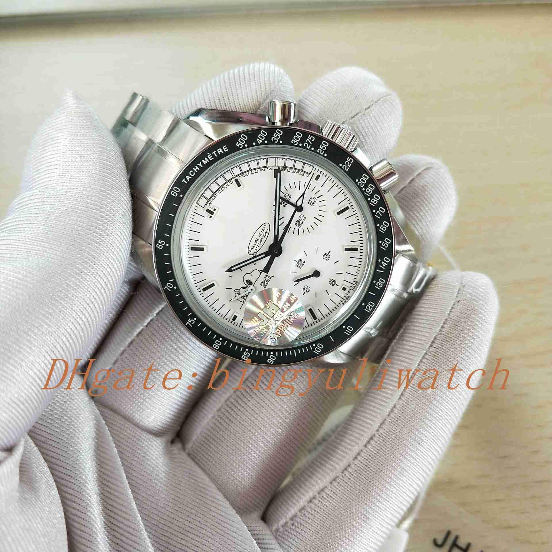 Valjoux Snoopy di lusso JHF fabbrica superiore Mens del cronografo meccanico Moon Watch degli uomini di manuale del vento Men Watch Opzione assiale Orologi sportivi
