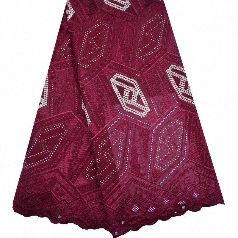 Ultime tessuto francese del merletto nigeriano di alta qualità ricamato Tulle Merletto africano tessuto pesante in rilievo di Tulle per il matrimonio 9EdB #