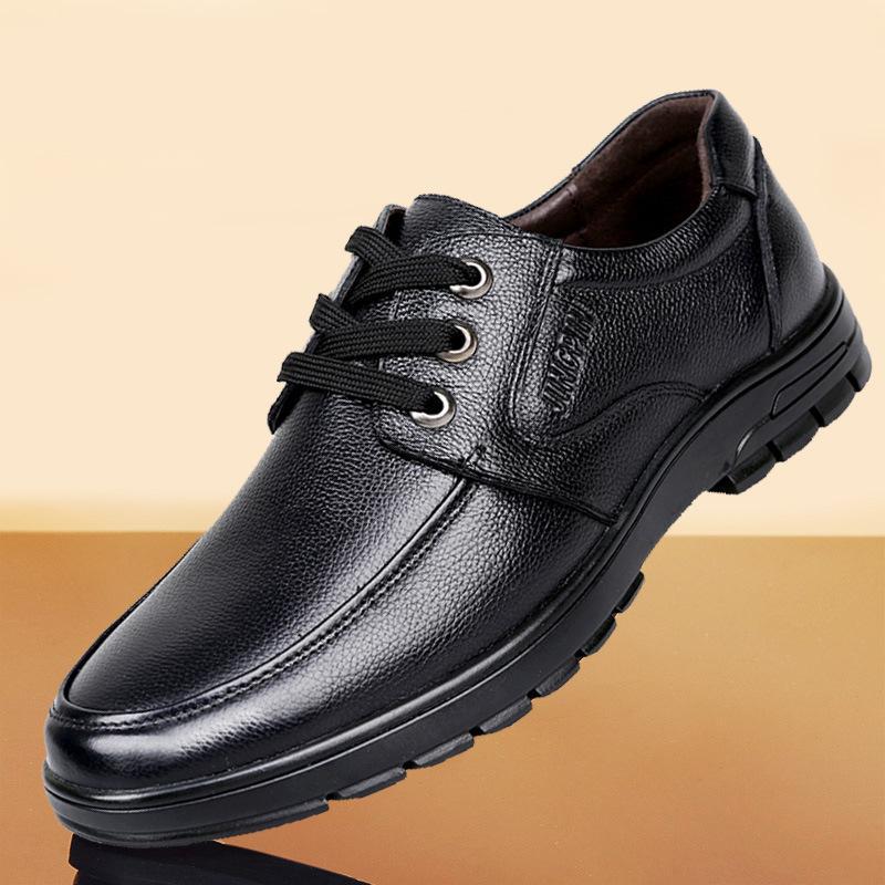 Couro calçados masculinos de couro genuíno Tendência Lace-up Casual Shoes Homens de negócios Formal Wear sapatos couro estilo coreano Juventude Breathab