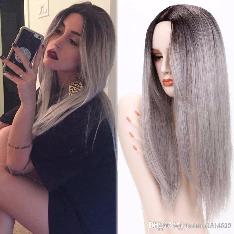 «26» «Сцена Парик Черный Mixed Вино Красный Серый Blond Радуга Эмо волос Длинные прямые Cosplay Парик Как волосы человеческие парик»