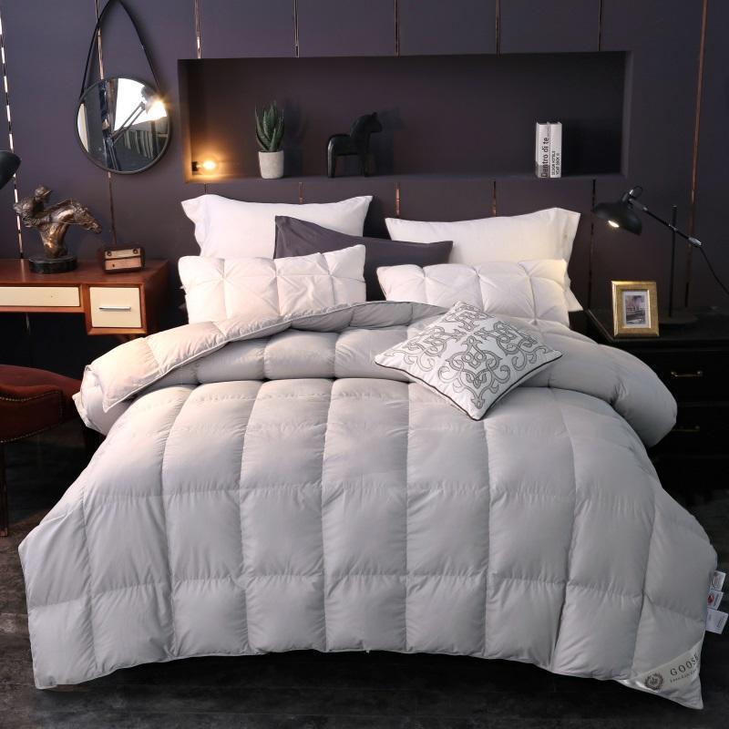 100% Down Consolador Branco Cinza Rainha cama king size set Quilt Duvet cover enchimento definir cobertor quente edredon colcha couette