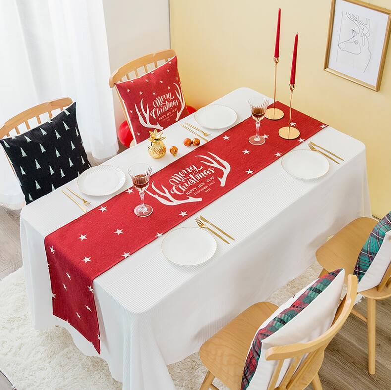Christmas Table Runners.Ins Nordic Christmas Table Runner Santa Claus Christmas Decoration Table Cloth Nature Polyester Cotton Fabric Home Napkin Braided Table Runners Brown