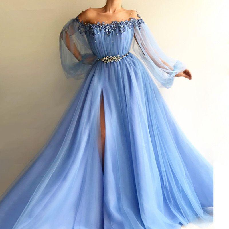 Blue Sky 2020 musulmana vestiti da sera di A-line lunghe maniche Tulle Appliques Perle fessura Dubai Arabia arabo lungo abito di sera di promenade
