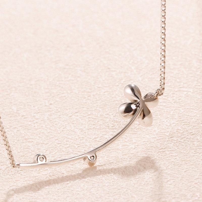 Wholesale-Fashion Clover Pendant Necklace for Pandora 925 Sterling Silver CZ Diamond Lady Clavicle Necklace with Original Box
