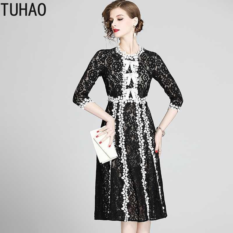TUHAO dentelle robes pour femmes de haute qualité luxe robe noire élégante piste Vestidos 2020 Eté dentelle Patchwork Robe longue WM83