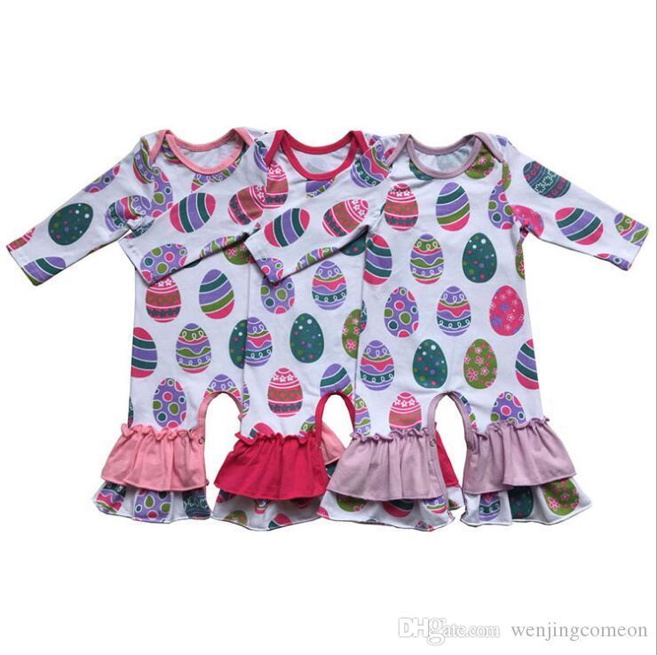 2019 Nuovo arrivo Pagliaccetti ragazza di Pasqua Neonato a maglia di cotone infantile Ruffle Tute Boutique Abbigliamento per bambini