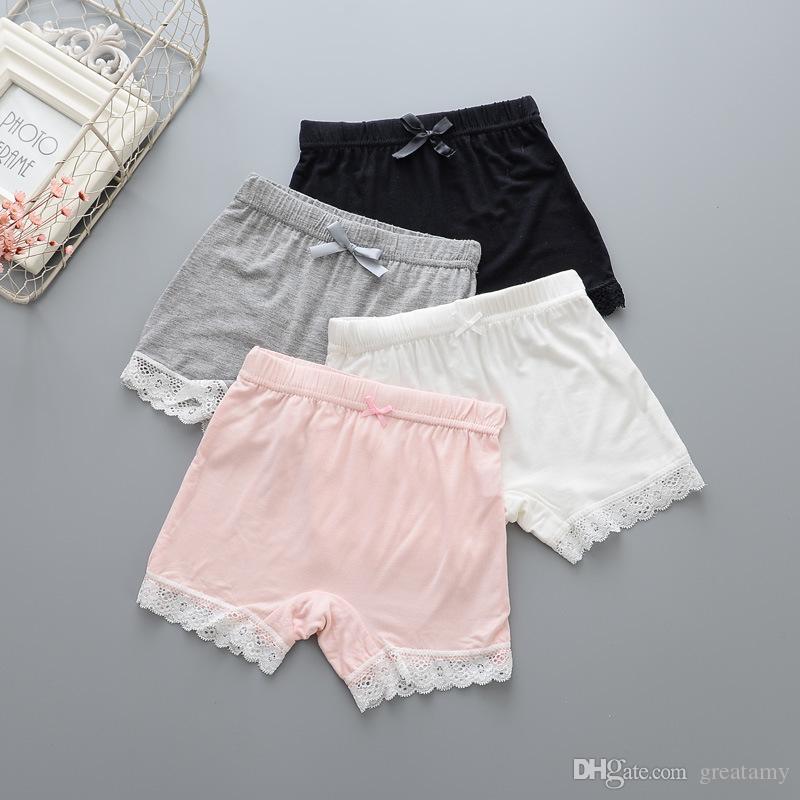 Bebé de los pantalones de seguridad muchacha muchachas Modal de encaje cabritos de los cortocircuitos la ropa interior de los niños del verano pantalones de color beige rosado blanco negro gris